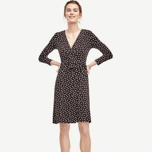 Ann Taylor Polka Dot 3/4 Sleeve Wrap Dress
